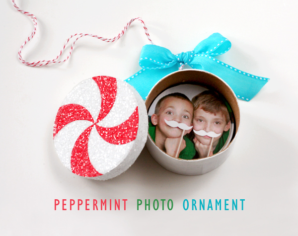 Peppermint Photo Ornament by Lisa Storms - personalize with a memorable photo inside!