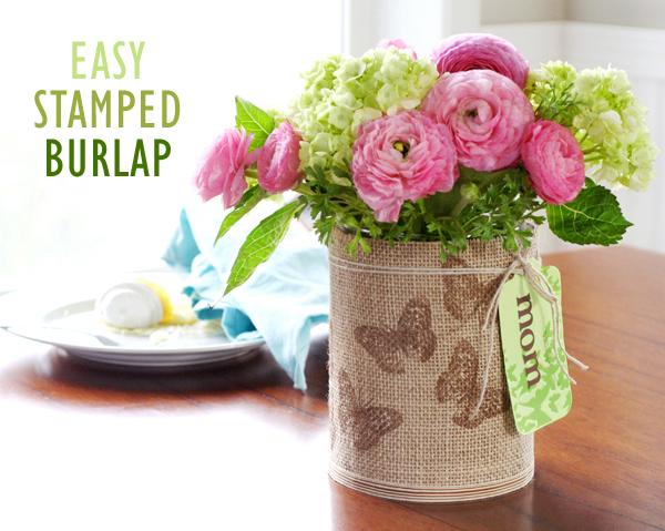 Stamped Burlap Vase
