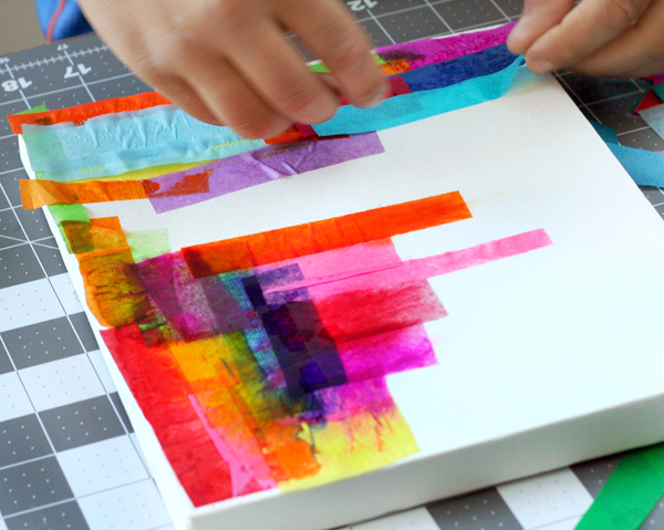 DIY Tissue Dyed Art Canvas